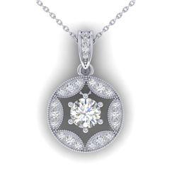 1.5 CTW Certified VS/SI Diamond Art Deco Stud Necklace 14K White Gold - REF-363W3F - 30453