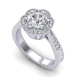 1.33 CTW VS/SI Diamond Solitaire Art Deco Ring 18K White Gold - REF-418A2X - 37103