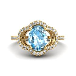 2 CTW Topaz & Micro Pave VS/SI Diamond Ring 10K Yellow Gold - REF-32M9H - 20977