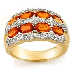 3.75 CTW Orange Sapphire & Diamond Ring 14K Yellow Gold - REF-105H5A - 11506