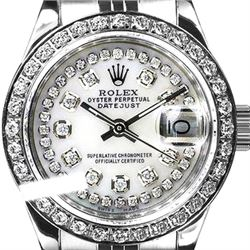 Rolex Ladies Stainless Steel, Diamond Dial & Diamond Bezel, Sapphire Crystal - REF-434A7N