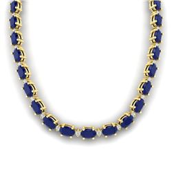 71.85 CTW Sapphire & VS/SI Certified Diamond Eternity Necklace 10K Yellow Gold - REF-563Y6K - 29518