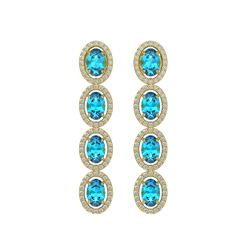 6.28 CTW Swiss Topaz & Diamond Halo Earrings 10K Yellow Gold - REF-103K6W - 40537