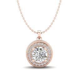 1.25 CTW VS/SI Diamond Solitaire Art Deco Stud Necklace 18K Rose Gold - REF-218W2F - 37143