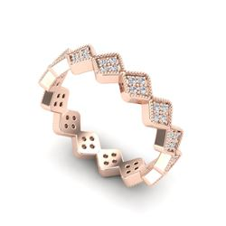 0.42 CTW Eternity Micro Pave VS/SI Diamond Ring Designer 14K Rose Gold - REF-35X3T - 20871