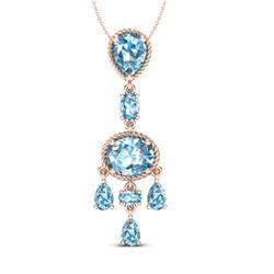 8 CTW Sky Blue Topaz Necklace Designer Vintage 10K Rose Gold - REF-34F4N - 20395