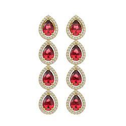 7.88 CTW Tourmaline & Diamond Halo Earrings 10K Yellow Gold - REF-166F8N - 41158