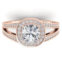 1.5 CTW Cushion Cut Certified VS/SI Diamond Art Deco Ring 14K Rose Gold - REF-429T8M - 30334