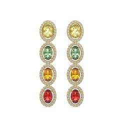 6.09 CTW Multi Color Sapphire & Diamond Halo Earrings 10K Yellow Gold - REF-135K3W - 40552