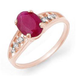 1.70 CTW Ruby & Diamond Ring 14K White Gold - REF-22Y9K - 13958