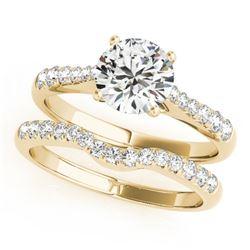 1.23 CTW Certified VS/SI Diamond Solitaire 2Pc Wedding Set 14K Yellow Gold - REF-203M3H - 31579