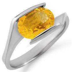 2.0 CTW Citrine Ring 10K White Gold - REF-18Y8K - 11352