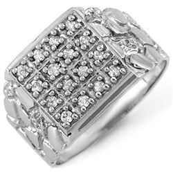 0.50 CTW Certified VS/SI Diamond Men's Ring 10K White Gold - REF-61W6F - 10578