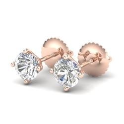 1.01 CTW VS/SI Diamond Solitaire Art Deco Stud Earrings 18K Rose Gold - REF-180T2M - 37299