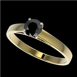 0.50 CTW Fancy Black VS Diamond Solitaire Engagement Ring 10K Yellow Gold - REF-19F3N - 32957