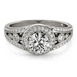 1.15 CTW Certified VS/SI Diamond Solitaire Halo Ring 18K White Gold - REF-218T2M - 26742
