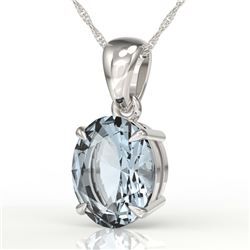 3.50 CTW Sky Blue Topaz Designer Inspired Solitaire Necklace 18K White Gold - REF-29F3N - 21886