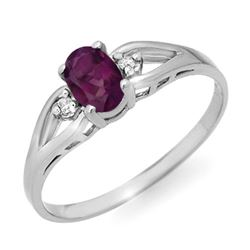 0.53 CTW Amethyst & Diamond Ring 10K White Gold - REF-9F8N - 12403