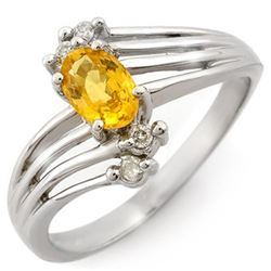0.80 CTW Yellow Sapphire & Diamond Ring 18K White Gold - REF-41F5N - 10548