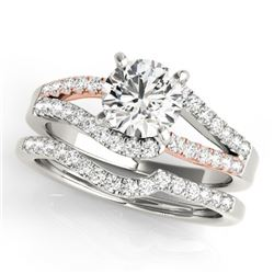 1.36 CTW Certified VS/SI Diamond Solitaire 2Pc Set 14K White & Rose Gold - REF-229K8W - 31961
