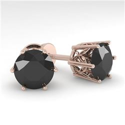 4.0 CTW Black Certified Diamond Stud Solitaire Earrings 18K Rose Gold - REF-104X8T - 35855