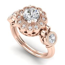 1.5 CTW VS/SI Diamond Solitaire Art Deco 3 Stone Ring 18K Rose Gold - REF-300A2X - 37059
