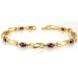 2.02 CTW Amethyst & Diamond Bracelet 10K Yellow Gold - REF-26M4H - 10423