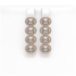 5.92 CTW Oval Diamond Designer Earrings 18K Rose Gold - REF-1094F9N - 42819