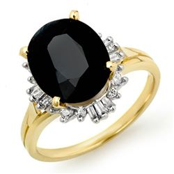 3.88 CTW Blue Sapphire & Diamond Ring 14K Yellow Gold - REF-62X2T - 14112