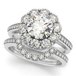 2.36 CTW Certified VS/SI Diamond 2Pc Wedding Set Solitaire Halo 14K White Gold - REF-435F6N - 30633