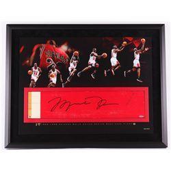 Michael Jordan Signed Bulls 28x36 Custom Framed Authentic Game-Used Floor Piece Limited Edition #23/