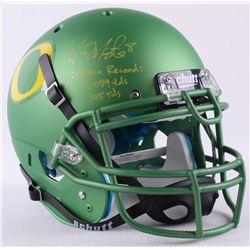 "Marcus Mariota Signed LE Oregon Full-Size Authentic Pro-Line Helmet Inscribed ""Oregon Record: 13,089"
