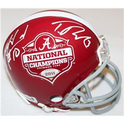 AJ McCarron  Trent Richardson Signed Alabama 2011 National Champions Mini-Helmet (Radtke COA)