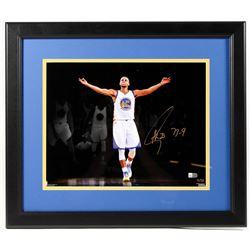 "Stephen Curry Signed LE Warriors 18x20 Custom Framed Photo Inscribed ""73-9"" (Fanatics Hologram)"