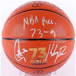 """Stephen Curry  Klay Thompson Signed """"73 Wins"""" Official NBA Game Ball Series Basketball Inscribed """"NB"""