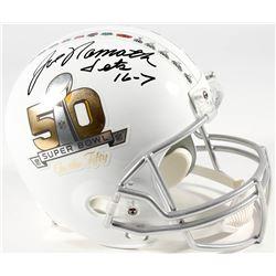 "Joe Namath Signed Super Bowl 50 On The Fifty Full-Size Helmet Inscribed ""Jets 16-7"" (PSA)"