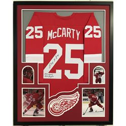 "Darren McCarty Signed Red Wings 34x42 Custom Framed Jersey Inscribed ""127 Goals""  ""129 Fights"" (JSA"