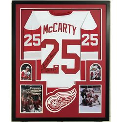 "Darren McCarty Signed Red Wings 34x42 Custom Framed Jersey Inscribed ""3-26-97""  ""B!@#$ A!@ Beat Down"