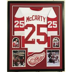 "Darren McCarty Signed Red Wings 34x42 Custom Framed Jersey Inscribed ""Paybacks are a B!@#$"" (JSA COA"