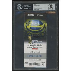 Stephen Curry Signed 2015 Record Breaking 73rd Win Ticket (Beckett Encapsulated)