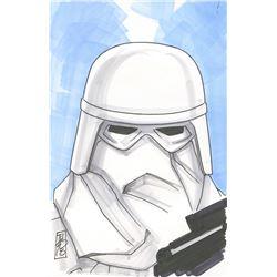 "Tom Hodges - First Order Snowtrooper ""Star Wars"" Signed ORIGINAL 5.5"" x 8.5"" Color Drawing on Paper"