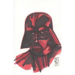 """Tom Hodges - Darth Vader """"Star Wars"""" Signed ORIGINAL 5.5"""" x 8.5"""" Color Drawing on Paper (1/1)"""