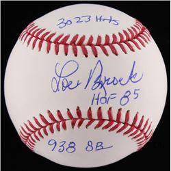 """Lou Brock Signed OML Baseball Inscribed """"3023 Hits"""", """"HOF 85""""  """"938 SB"""" (JSA COA)"""