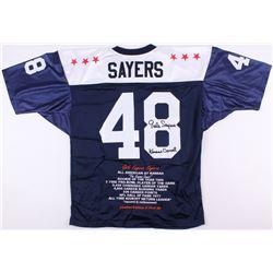 "Gale Sayers Signed Kansas Jayhawks Career Highlight Stat Jersey Inscribed ""Kansas Comet"" (JSA COA)"
