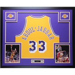 Kareem Abdul-Jabbar Signed Lakers 35x43 Custom Framed Jersey (Beckett COA)