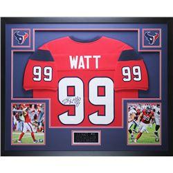 """J.J. Watt Signed Texans 35"""" x 43"""" Custom Framed Jersey (JSA COA)"""