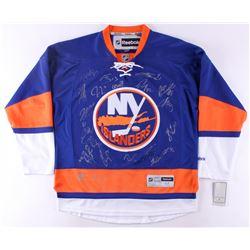 2017-18 Islanders Reebok Jersey Team-Signed by (21) with Josh bailey, Brock Nelson, Mathew Barzal (J