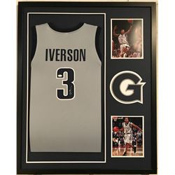 Allen Iverson Signed  Georgetown Hoyas 34x42 Custom Framed Jersey Display (JSA COA)