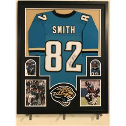 Jimmy Smith Signed Jaguars 34x42 Custom Framed Jersey Display (JSA COA)