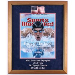 Michael Phelps Signed 2008 Sports Illustrated Cover Photo 18x22 Custom Framed Display (JSA COA)